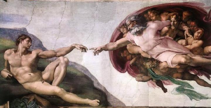 """Michelangelos """"Skapelse"""". Svært opptatt av kroppens proporsjoner. Mennesket er skapt i Guds bilde!"""