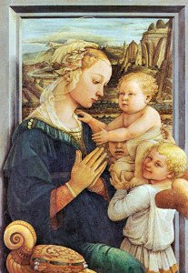 """Filippo Lippo """"Madonna med barnet. Et typisk renessanse-maleri."""