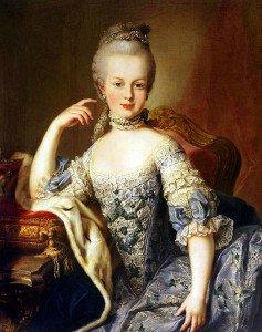 """Dronning av Frankrike Marie Antoinette. Under brødmangelen i Paris uttalte hun """"Hvorfor spiser dem ikke bare kake?"""" Utsagnet er feilsitert."""