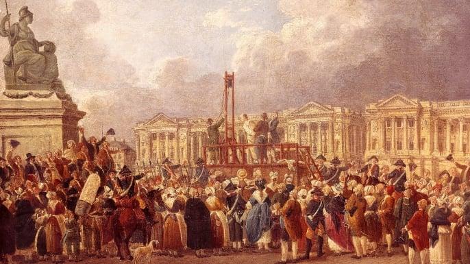 Flere adelsmenn og kongelige mistet hodet i giljotinen i Paris. Her blir Ludvig 16. henrettet.